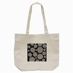 Black And White Hypnoses Tote Bag (cream) by Valentinaart