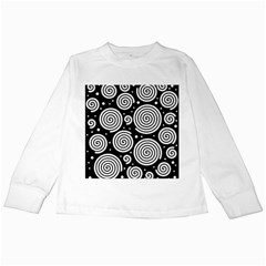 Black And White Hypnoses Kids Long Sleeve T Shirts by Valentinaart