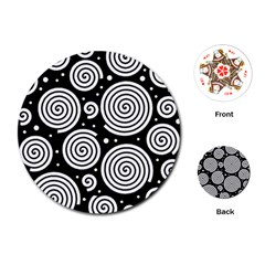 Black And White Hypnoses Playing Cards (round)