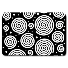 Black And White Hypnoses Large Doormat  by Valentinaart