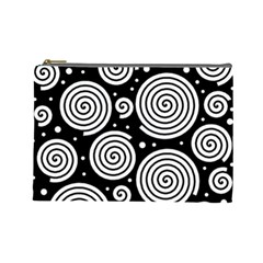 Black And White Hypnoses Cosmetic Bag (large)  by Valentinaart
