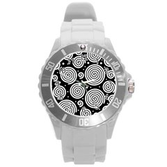 Black And White Hypnoses Round Plastic Sport Watch (l)