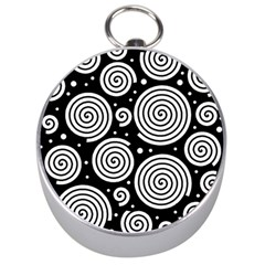Black And White Hypnoses Silver Compasses