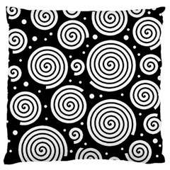 Black And White Hypnoses Large Flano Cushion Case (one Side) by Valentinaart