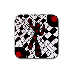 On The Dance Floor  Rubber Square Coaster (4 Pack)  by Valentinaart