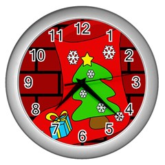 Christmas Sock Wall Clocks (silver)  by Valentinaart