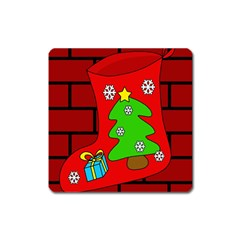 Christmas Sock Square Magnet by Valentinaart
