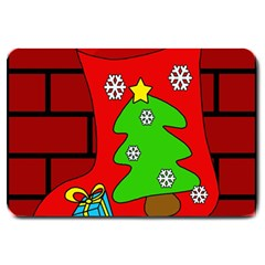 Christmas Sock Large Doormat  by Valentinaart