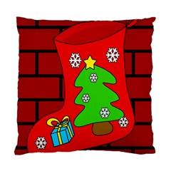 Christmas Sock Standard Cushion Case (two Sides) by Valentinaart