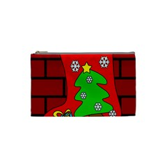 Christmas Sock Cosmetic Bag (small)  by Valentinaart