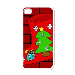 Christmas Sock Apple Iphone 4 Case (white) by Valentinaart
