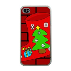 Christmas Sock Apple Iphone 4 Case (clear) by Valentinaart