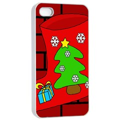 Christmas Sock Apple Iphone 4/4s Seamless Case (white) by Valentinaart