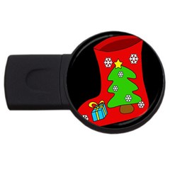 Christmas Sock Usb Flash Drive Round (2 Gb)  by Valentinaart
