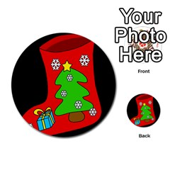 Christmas Sock Multi Purpose Cards (round)  by Valentinaart