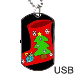 Christmas Sock Dog Tag Usb Flash (one Side) by Valentinaart