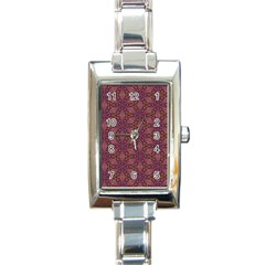 Fuchsia Abstract Shell Pattern Rectangle Italian Charm Watch by TanyaDraws