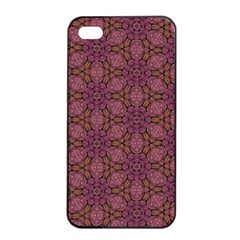 Fuchsia Abstract Shell Pattern Apple Iphone 4/4s Seamless Case (black) by TanyaDraws