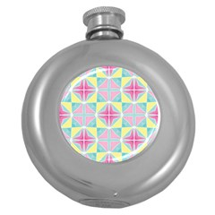 Pastel Block Tiles Pattern Round Hip Flask (5 Oz) by TanyaDraws
