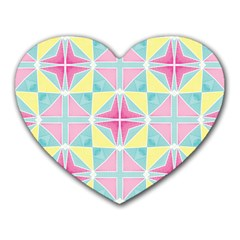 Pastel Block Tiles Pattern Heart Mousepads by TanyaDraws