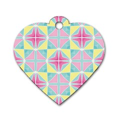 Pastel Block Tiles Pattern Dog Tag Heart (one Side) by TanyaDraws