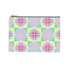 Pastel Block Tiles Pattern Cosmetic Bag (large)  by TanyaDraws