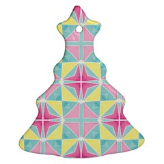 Pastel Block Tiles Pattern Christmas Tree Ornament (2 Sides) by TanyaDraws