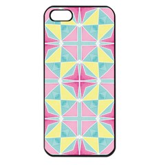 Pastel Block Tiles Pattern Apple Iphone 5 Seamless Case (black) by TanyaDraws