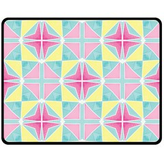 Pastel Block Tiles Pattern Double Sided Fleece Blanket (medium)  by TanyaDraws