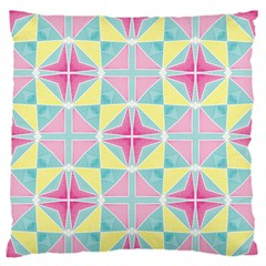 Pastel Block Tiles Pattern Large Flano Cushion Case (one Side) by TanyaDraws