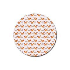 Fox And Laurel Pattern Rubber Coaster (round)  by TanyaDraws