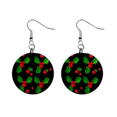 Christmas Berries Pattern  Mini Button Earrings by Valentinaart