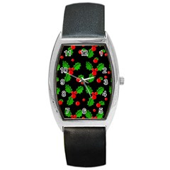 Christmas Berries Pattern  Barrel Style Metal Watch by Valentinaart