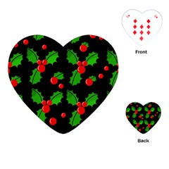 Christmas Berries Pattern  Playing Cards (heart)  by Valentinaart