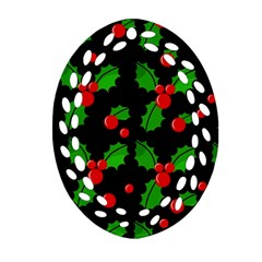 Christmas Berries Pattern  Ornament (oval Filigree)  by Valentinaart