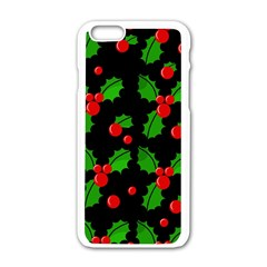Christmas Berries Pattern  Apple Iphone 6/6s White Enamel Case by Valentinaart