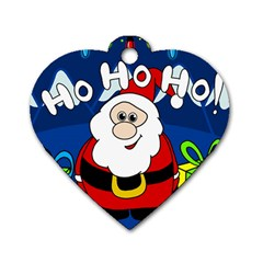 Santa Claus  Dog Tag Heart (one Side) by Valentinaart