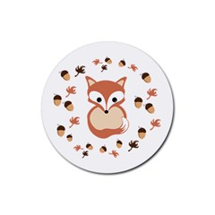 Fox In Autumn Rubber Coaster (round)  by vanessagf