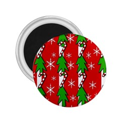 Christmas Tree Pattern   Red 2 25  Magnets by Valentinaart