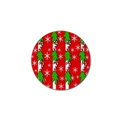 Christmas Tree Pattern   Red Golf Ball Marker (4 Pack) by Valentinaart