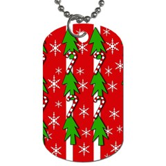 Christmas Tree Pattern   Red Dog Tag (two Sides) by Valentinaart