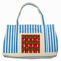 Christmas Tree Pattern   Red Striped Blue Tote Bag by Valentinaart