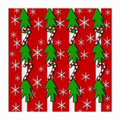 Christmas Tree Pattern   Red Medium Glasses Cloth by Valentinaart
