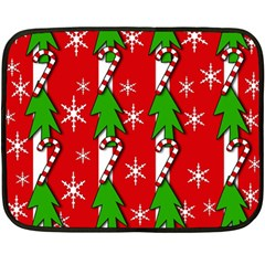 Christmas Tree Pattern   Red Fleece Blanket (mini) by Valentinaart