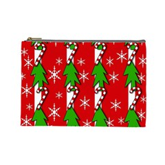 Christmas Tree Pattern   Red Cosmetic Bag (large)  by Valentinaart