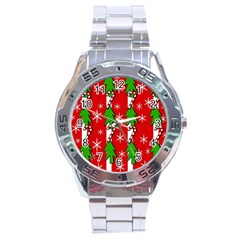 Christmas Tree Pattern   Red Stainless Steel Analogue Watch by Valentinaart