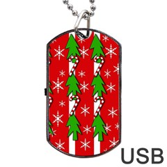 Christmas Tree Pattern   Red Dog Tag Usb Flash (one Side) by Valentinaart