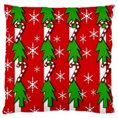 Christmas Tree Pattern   Red Large Cushion Case (one Side) by Valentinaart