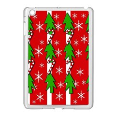 Christmas Tree Pattern   Red Apple Ipad Mini Case (white) by Valentinaart