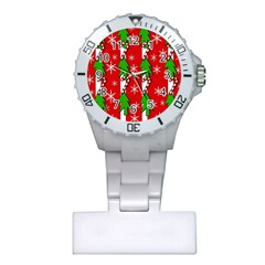 Christmas Tree Pattern   Red Plastic Nurses Watch by Valentinaart